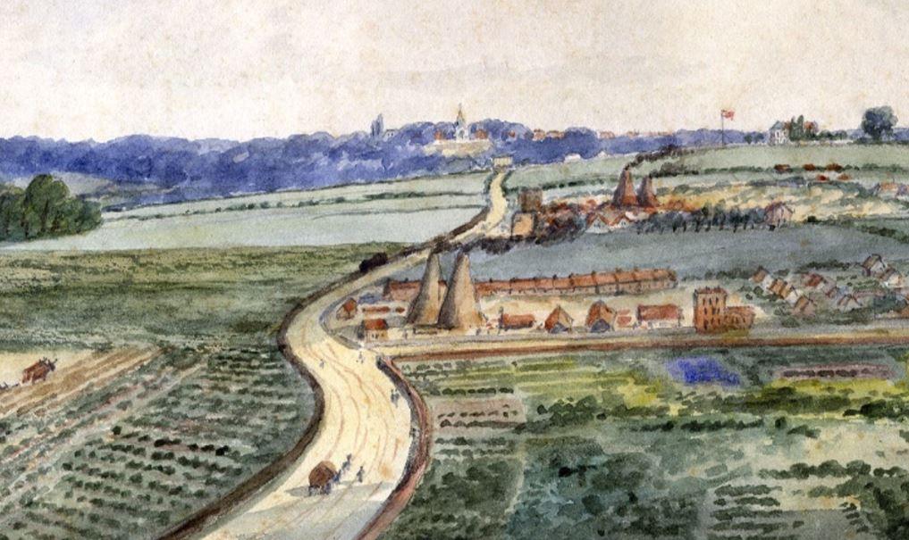 EH Dixon: View of Maiden Lane, 1835 (Islington Local History Centre)