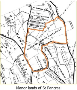 Cantlowes demesne on 1930s synthetic map of Pancras parish estates