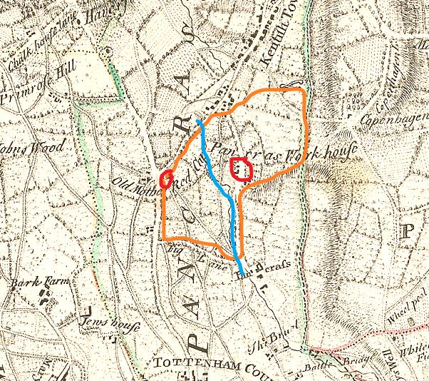 Rocque map 1765. Orange - Camden's land; Red - houses; Blue - River Fleet
