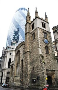 St Andrew Undershaft, with Gherkin behind - built on Jeffreys' land.